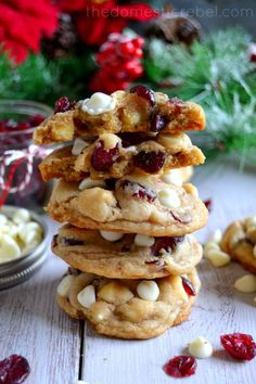 These Cranberry White Chip Cookies produce such soft and chewy cookies that are totally foolproof! Perfect for the holidays, or anytime! White Chocolate Cranberry Cookies, White Chocolate Chips, Köstliche Desserts, Delicious Desserts, Dessert Recipes, Christmas Desserts, Christmas Baking, Yummy Cookies, Cookie Recipes