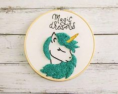 Unicorn nursery wall decor, Baby girl nursery decor, Newborn gift, Nursery wall hangings,Magic – Rug making Baby Girl Nursery Decor, Nursery Wall Decor, Baby Decor, Kids Decor, Newborn Nursery, Embroidery Hoop Art, Cross Stitch Embroidery, Cute Unicorn, Unicorn Wall
