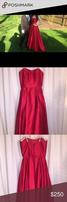 Strapless red Silky  prom dress Size 4. Worn once, perfect condition, not altered Dresses Prom