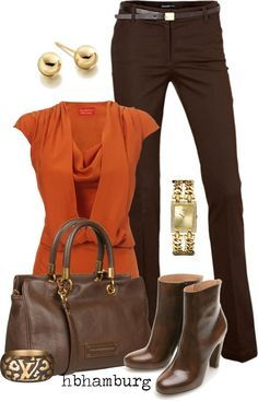 """""""No. 159 - Brown & orange"""" by hbhamburg on Polyvore. Even on Casual Fridays you must professionally dress... #T4LCareers"""