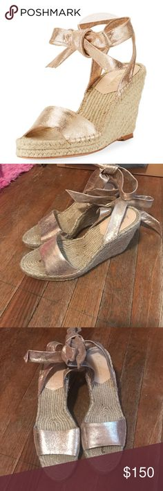 """Loeffler Randall metallic suede espadrille sandal NWOT . Beautiful metallic wedges.  Fits: True to Size Loeffler Randall metallic suede espadrille sandal. 4"""" braided-jute wedge heel; 1"""" platform; 3"""" equiv. Strap bands open toe. Self-tie ankle wrap. Leather outsole. """"Harper"""" is made in Brazil. Sold out in stores! Loeffler Randall Shoes Wedges"""