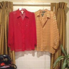 TWO BEAUTIFUL SHEER DRESS BLOUSES The red blouse is Avenue beautiful embroidery and tiny little accents that make this blouse POP! GORGEOUS! The gold blouse is sheer with squares patterned. The gold blouse also has a matching she'll with it. Both are beautiful Tops Blouses