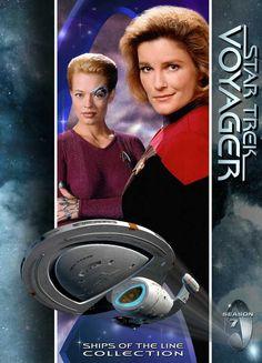 Star Trek Voyager - Captain Kathryn Janeway (Kate Mulgrew), Seven of Nine (Jeri Ryan), and the USS Voyager.