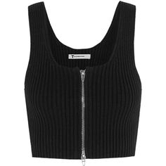 T by Alexander Wang - Cropped Ribbed-knit Cotton-blend Top (405 BRL) ❤ liked on Polyvore featuring tops, crop tops, shirts, black, a line shirt, a line tops, bralet tops, crop shirt and zip top
