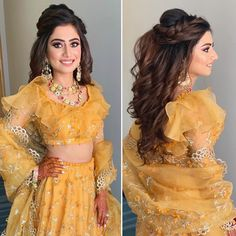 Lehenga Hairstyles, Hairstyles For Gowns, Open Hairstyles, Tiara Hairstyles, Easy Hairstyles For Long Hair, Short Hair, Hairstyle With Gown, Bridal Hairstyle Indian Wedding, Bridal Hair Buns
