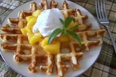 Buttermilk Waffles with Peaches and Cream http://www.yummly.com/blog/2012/05/easy-baking-with-buttermilk-biscuits-breads-and-more/