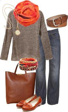 Greige sweater, orange scarf, jeans, cognac flats