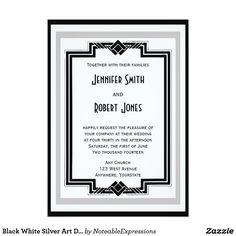 Black White Silver Art Deco Frame Wedding