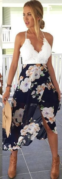 White Lace + Black Floral @roressclothes closet ideas #women fashion outfit #clothing style apparel