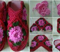 Una construcción botines crochet-trabajo