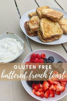 on this national holiday (July 4th!) it doesn't hurt to have something a little more festive for breakfast! SOOO I created an amazing French toast recipe, and decorated it perfectly on theme. This recipe features battered French toast (instead of soaking the bread in eggs and milk, I soaked it in a type of crepe batter), homemade freshly whipped heavy cream that's the perfect amount of sweet, and beautiful fresh strawberries, raspberries, and blueberries. Amazing French Toast Recipe, Make French Toast, Blueberries, Raspberries, Strawberries, Celiac Recipes, Celiac Food, Crepe Batter, National Holiday