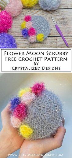 Flower Moon Scrubby ~ A Free Crochet Pattern - Crystalized Designs Free Crochet, Crochet Hats, Crochet Kitchen, New Growth, Crochet Patterns, Moon, Homemade, Create, Scrubs