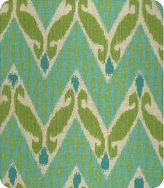 Blue and green Ikat fabric. Lewis and sheron Textiles - online fabric store. www.lsfabrics.com