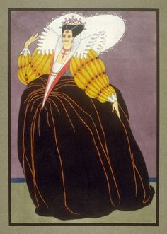 Woman dressed in Elizabethan-style costume of the late 16th Century. Mac Harshberger, A History of Costumes, 1928-32. Watercolor. USA. Via FAMSF