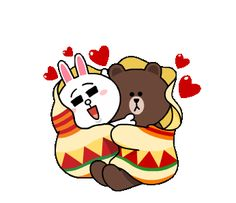 Brown and cony winter romance stickers featuring there love in winter and snow. Share them with your better half and ignite the romantic fire. Cute Love Memes, Cute Love Gif, Cute Love Pictures, Cute Love Cartoons, Bear Gif, Hugs And Cuddles, Gato Anime, Love You Gif, Chibi Cat