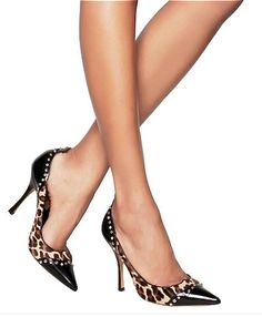 DSQUARED2 leopard studded leather pumps
