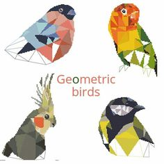 Geometric birds cross stitch patterns