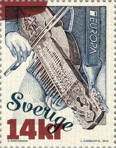 """Postage stamp - Sweden """"Key Harp"""" 2014. Lars Sjööblom"""