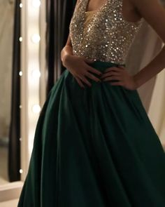 Luxurious Sequin Beaded V Neck Long Satin Prom Dresses 2019 .-Luxurious Sequin Beaded V Neck Long Satin Prom Dresses 2019 – alinanova green prom dresses long satin sequin beaded evening gowns - Satin Dresses, Ball Dresses, Elegant Dresses, Beaded Dresses, Satin Gown, Green Sequin Dress, Green Dress, Beaded Evening Gowns, Evening Dresses