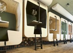 train cabins with diverent height on Unique Restaurant Interior by Tjep