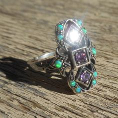 Opal Amethyst Ring size 8 Victorian Solid 925 Sterling Silver Vintage Art Nouveau Edwardian Ring by TheVintageAdvantages on Etsy