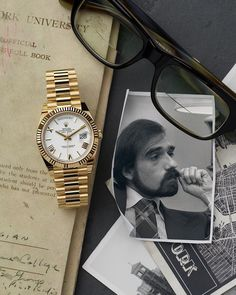 Martin Scorsese's watch, a Rolex Day-Date 40 in yellow gold. Dream Watches, Luxury Watches, Montres Hugo Boss, Rolex Bracelet, Gold Rolex, Swatch, Rolex Watches For Men, Moda Masculina, Watches