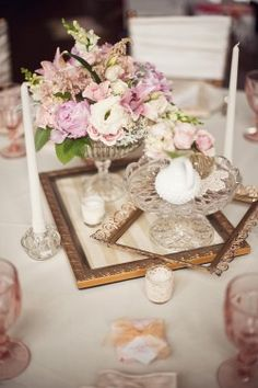 tables with stuff I own cuts down on flower costs and adds texture and meaning