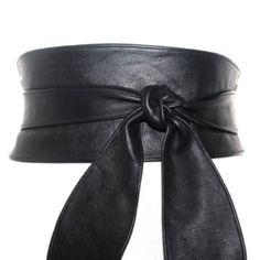 Black Leather Obi Belt tulip tie| Waist or Hip Belt | Leather tie belt | Real Leather Belt| Handmade Belt | Plus size belts| various sizes