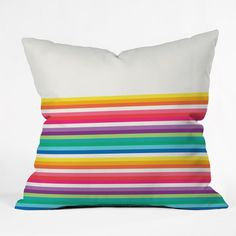 Jacqueline Maldonado Rainbow Stripe Throw Pillow | DENY Designs Home Accessories