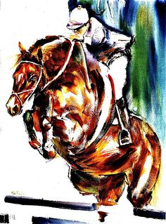 Show Jumping Watercolor