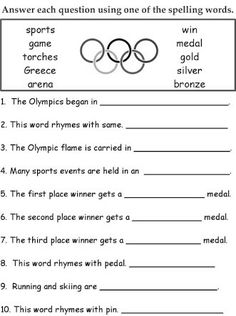 Looking for a Spelling Games Worksheets. We have Spelling Games Worksheets and the other about Benderos Printable Math it free. Spelling Games, Spelling Activities, Spelling Words, Spelling Lists, Olympic Idea, Olympic Flame, Olympic Sports, Olympic Crafts, English Grammar Worksheets