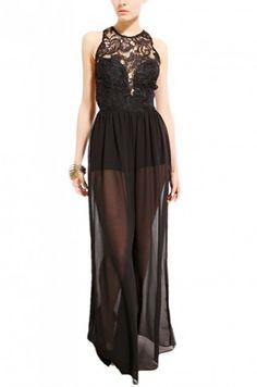 Sleeveless Lace Bodice Chiffon Jumpsuit in Black