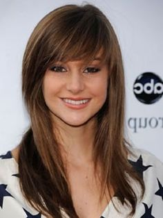 Long Haircuts for Heart Shaped Faces: Side Swept Blunt Bangs, Shailene Woodley
