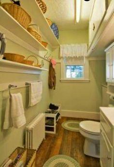Lovely, farmhouse bathroom... Vintage Bathrooms, Farmhouse, Closet, Home Decor, Armoire, Decoration Home, Room Decor, Closets, Cupboard