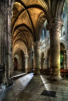 Early morning light in Liseaux Cathedral, Normandy, France - a fine example of Norman Architecture. Architecture Antique, Sacred Architecture, Beautiful Architecture, Beautiful Buildings, Architecture Design, Beautiful Places, Church Architecture, Beautiful Pictures, Best Vacation Destinations