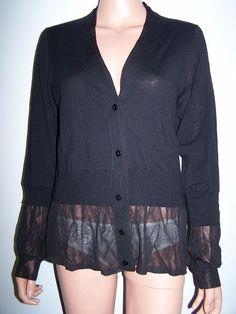 Rondina NWT Size L Black Cardigan Sweater Carlisle Etcetera Per Se  #rondina #Cardigan