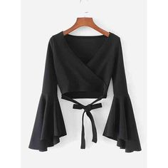Bell Sleeve Knotted Hem Surplice Blouse -SheIn(Sheinside) - Bell Sleeve Knotted Hem Surplice Blouse -SheIn(Sheinside) Source by - Teen Fashion Outfits, Mode Outfits, Stylish Outfits, Girl Fashion, Girl Outfits, Fashion Dresses, Fashion Sale, Emo Fashion, School Outfits