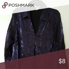 LONG SLEEVE FANCY OVER SHIRT Deep purple with black design blouse - great layered over a camisole as a light weight jacket.  Looks great with crushed velvet shirts also listed. Tops Blouses