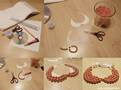 Collar Babero, reciclado de cd y perlas #DIY