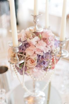 Candleabra Centrepiece Decor Tables Pearls Flowers Chic Pastel City Wedding http://sarahjaneethan.co.uk/
