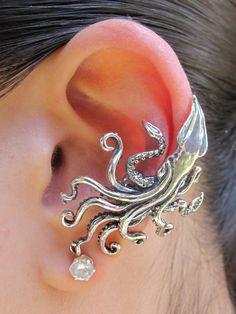Kraken Squid Ear Cuff Silver Kraken Squid Jewelry by martymagic, $95.00