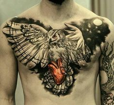 Owl tattoo for men  #tattooformen #tattoomen #menstattoos #owltattoos #owltattoo #owl