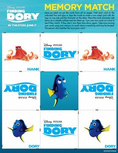 Free Finding Dory Memory Game and Finding Dory Printables. These are fun Finding Dory Activity sheets that are fun for the kids. Disney Printables, Free Printables, Mobile Craft, Printable Activities For Kids, Kid Activities, Finding Dory, Memory Games, Kid Movies, Activity Sheets