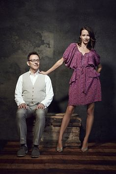 """Michael Emerson (Harold Finch) and Amy Acker (Samantha """"Root"""" Groves) promoting """"Person of Interest""""."""