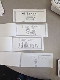 RTI BEHAVIOR goals for Kindergarten. To develop literacy concepts. given paper students will cut out the paper and read the sentence provided. This helps develop effective language skills both listening and speaking. Kindergarten Rules, Beginning Of Kindergarten, Kindergarten Classroom, School Classroom, Classroom Behavior, Classroom Rules, Behavior Goals, Classroom Management, Classroom Projects