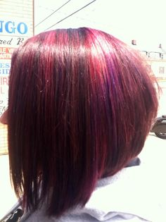 My new hair. Red-violet with pink and purple highlights. With a bob cut. LOVE LOVE LOVE