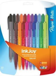 Staples®. has the PaperMate, InkJoy 100RT, Retractable Ballpoint Pens, Medium Point, Assorted Ink Colors, 20/Pack you need for home office or business. FREE delivery on all orders over $19.99, plus Rewards Members get 5 percent back on everything