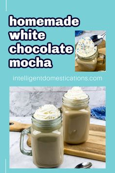 Make this easy recipe for White Chocolate Mocha at home without expensive coffee shop equipment. We included a homemade whipped cream recipe too! Top your white chocolate mocha latte with whipped cream then sprinkle on some cinnamon or candy sprinkles and treat yourself. Recipe For White Chocolate Mocha, Mocha Recipe, Melting Chocolate, Delicious Dishes, Delicious Recipes, Crockpot Recipes, Yummy Food, Other Recipes, New Recipes