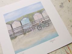"""""""Live Life"""" Bude Beach Huts Print. Available from Rachel Grant on Etsy."""