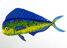 """This vibrant dolphin measures 22"""" by 14"""" and is created using green, blue and yellow glass and fusing it together$160 by FusedGlassMenagerie on Etsy"""